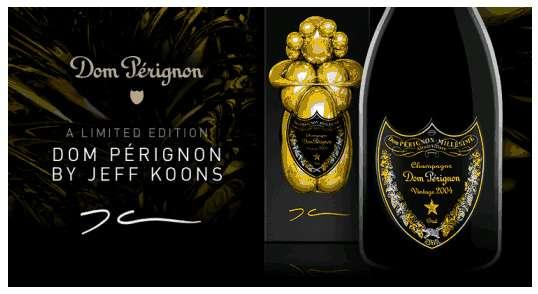 edizione speciale champagne Dom Pèrignon Vintage del 2004 Millesimato con scultura di Jeff Koons